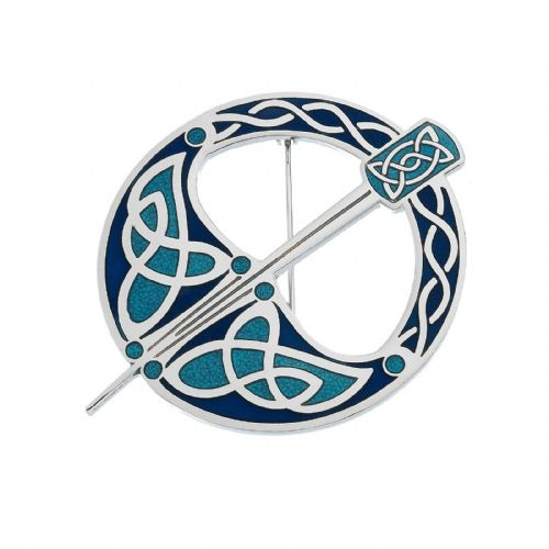 Blue Tara Celtic Brooch Silver Plated Brand New Gift Packaging